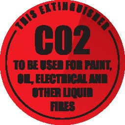 Wall sign for CO2 Fire Extinguisher