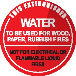 Wall sign for Water Fire extinguisher