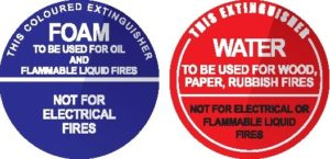 Signs for Foam and water Extinguishers